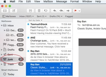 Apple Mail - Junk Folder